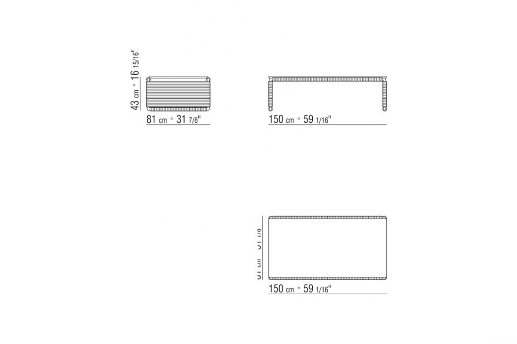 line drawing and dimensions for flexform tindari coffee table