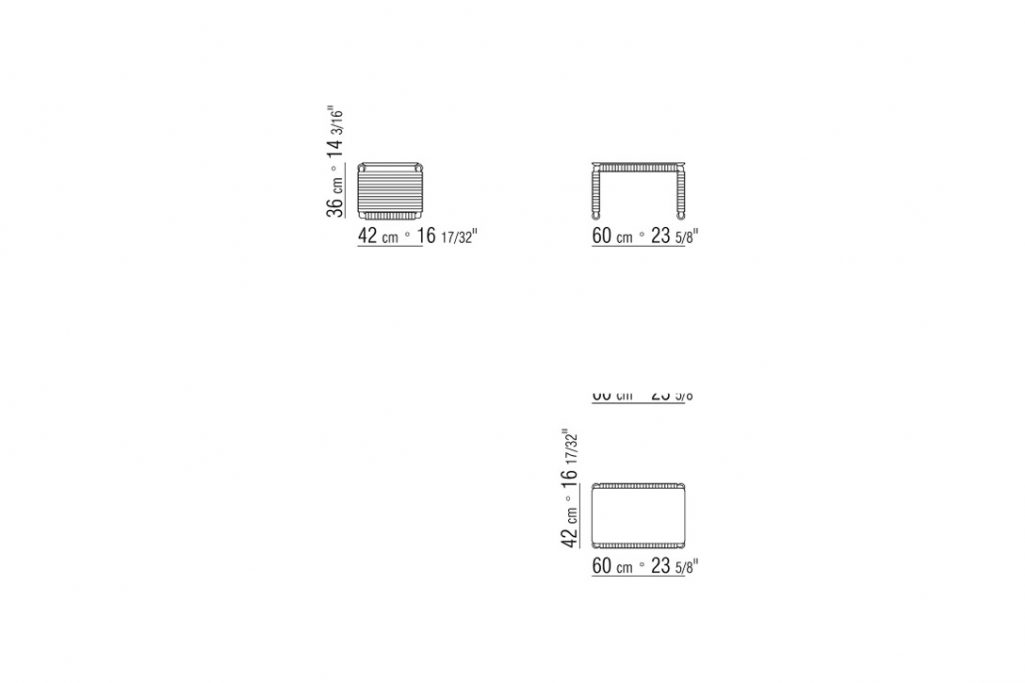 line drawing and dimensions for flexform tindari side table