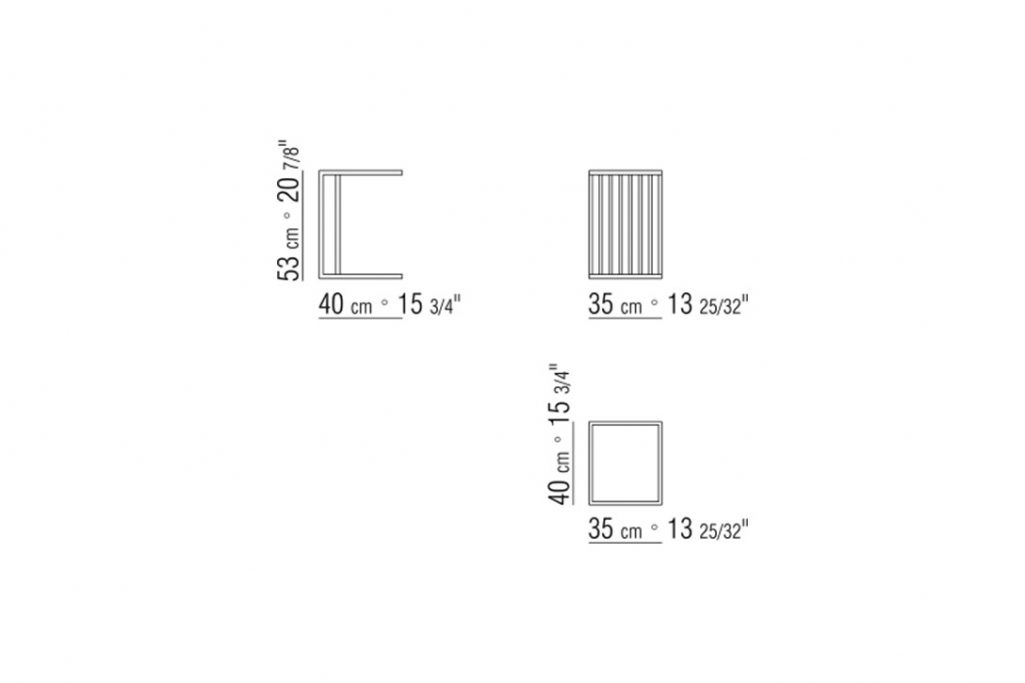 line drawing and dimensions for a flexform vienna side table