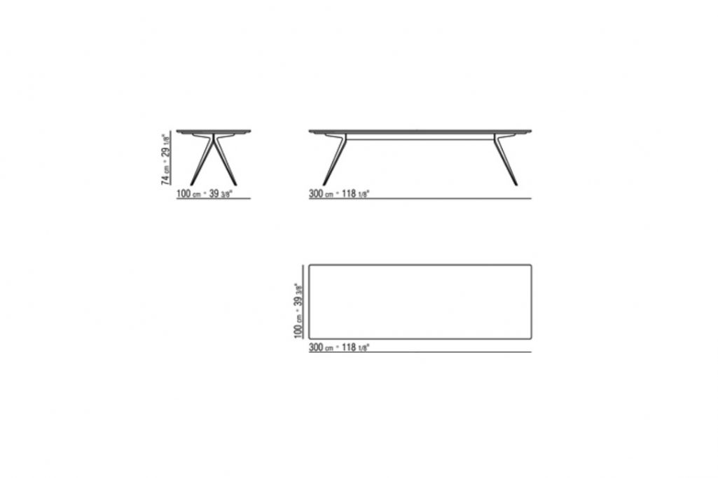 line drawing and dimensions for flexform zefiro dining table 300cm x 100cm
