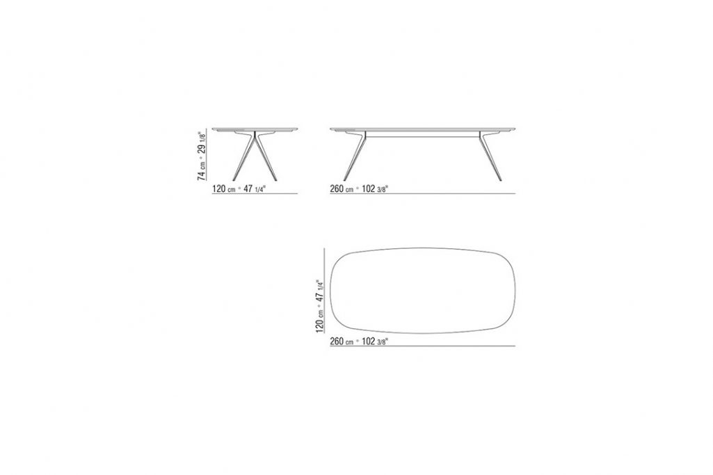 """line drawing and dimensions for flexform zefiro dining table 102"""""""