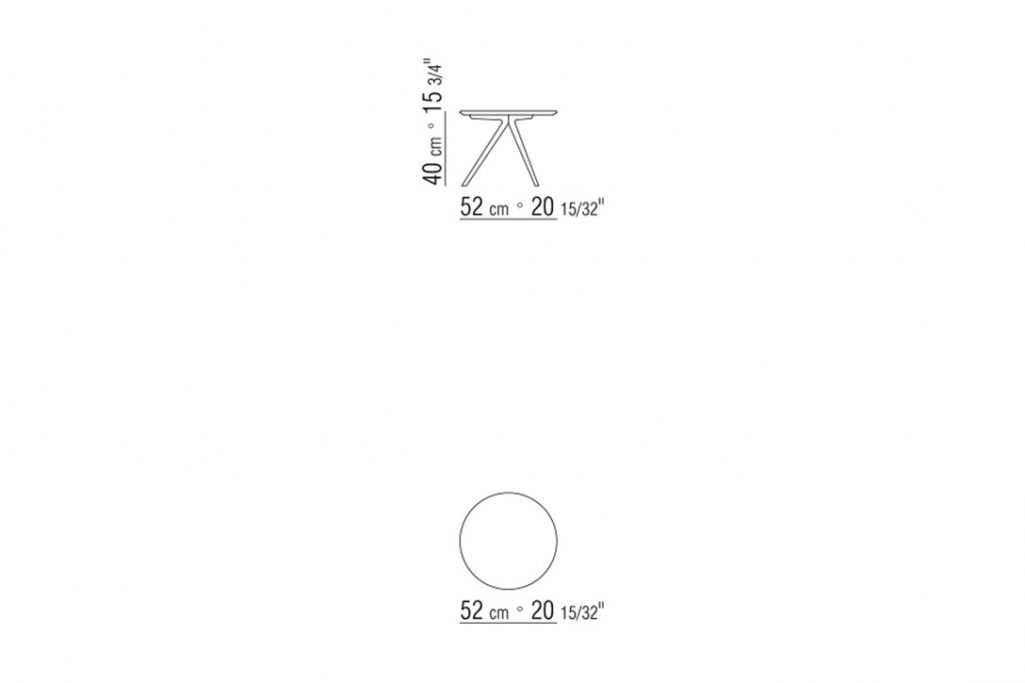 """line drawing and dimensions for a flexform zefiro side table round 20"""""""