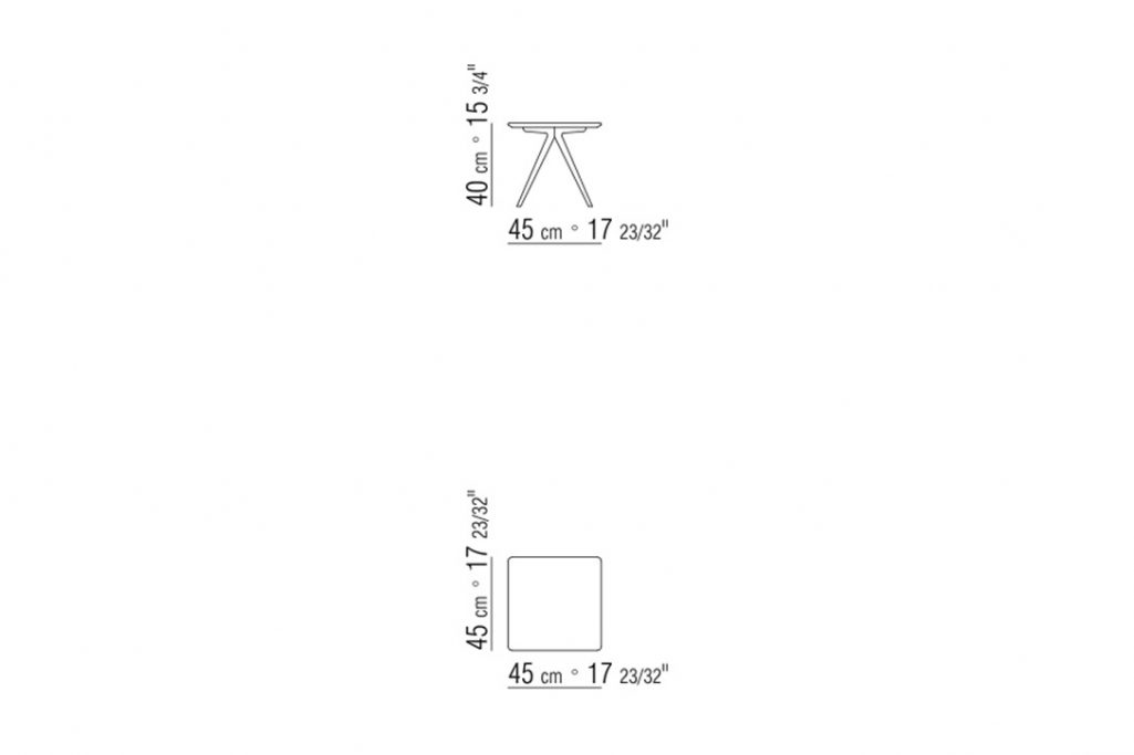 """line drawing and dimensions for a flexform zefiro side table square 17"""""""