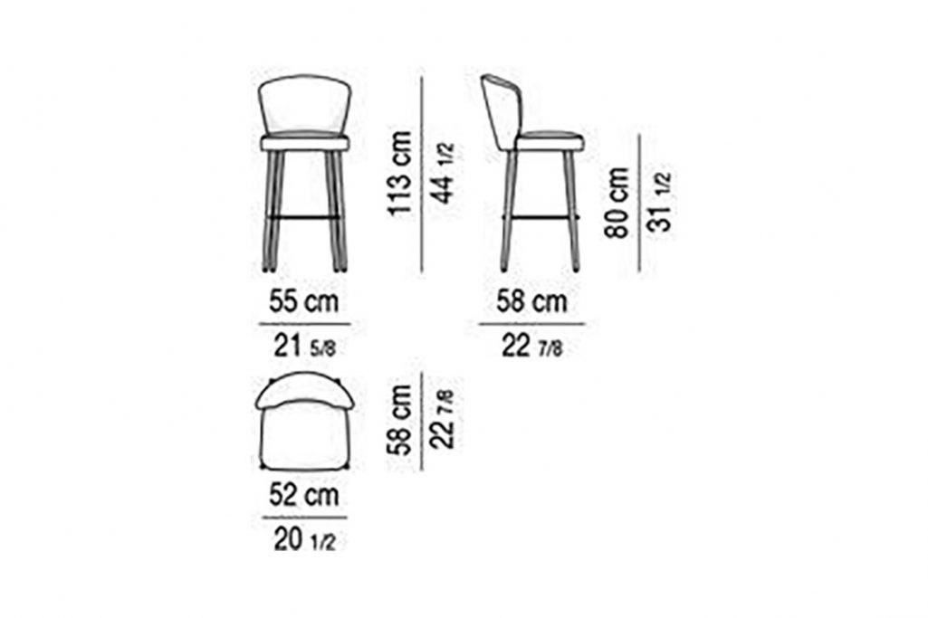line drawing and dimensions for minotti aston bar stool