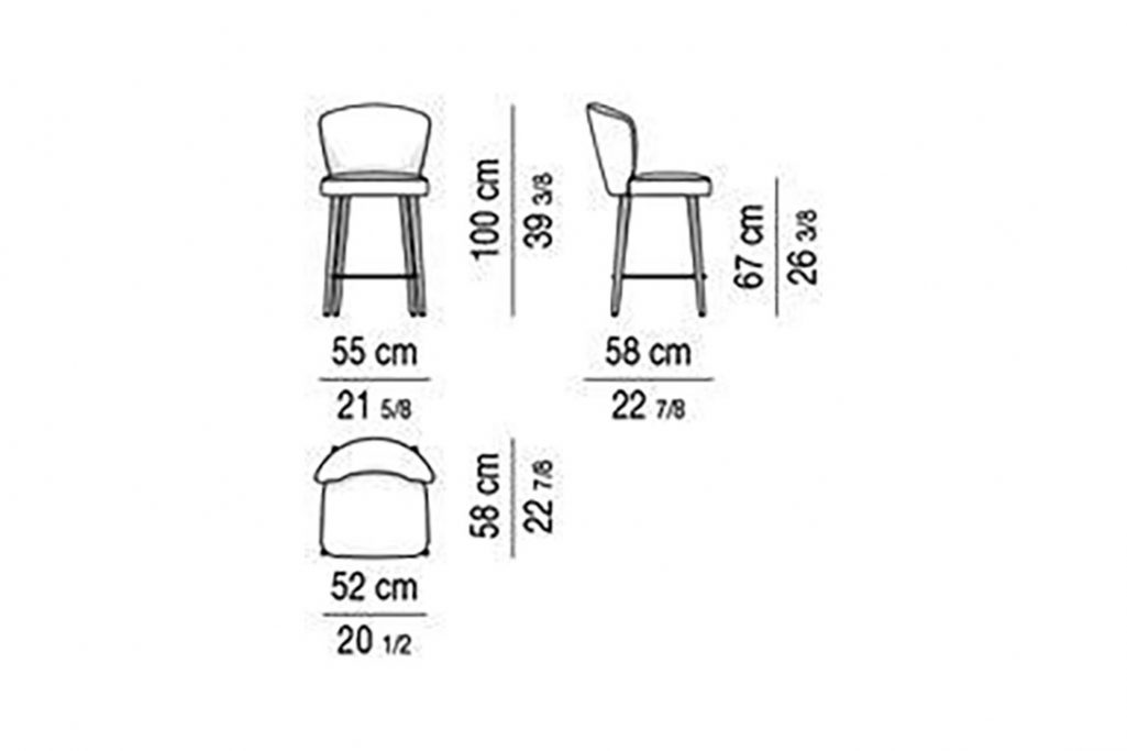 line drawing and dimensions for minotti aston counter stool