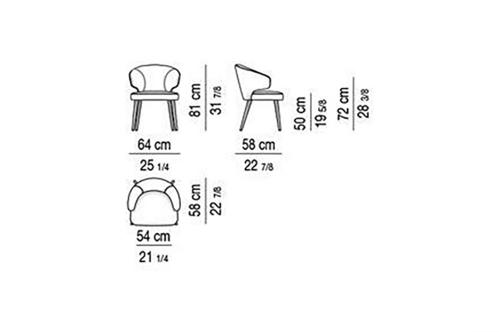 line drawing and dimensions for minotti aston dining arm chair