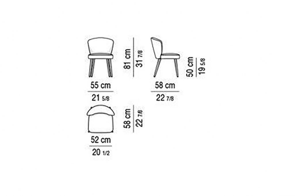 line drawing and dimensions for minotti aston dining chair