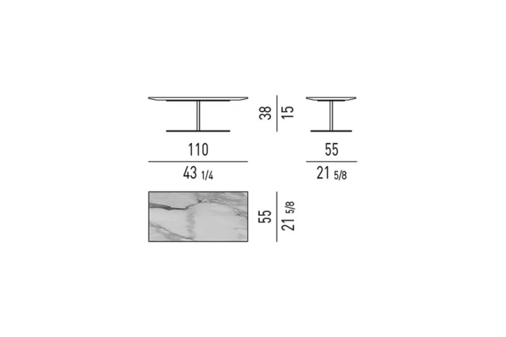 line drawing and dimensions for minotti bellagio coffee table rectangle