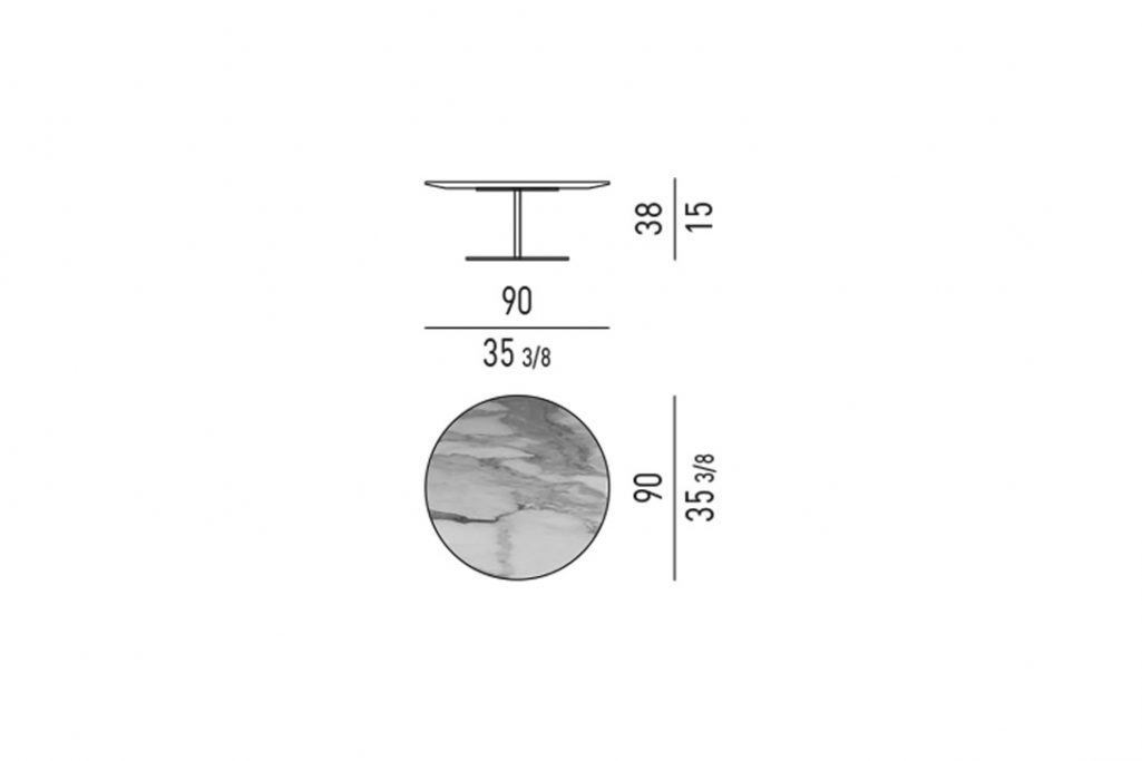 line drawing and dimensions for minotti bellagio coffee table round