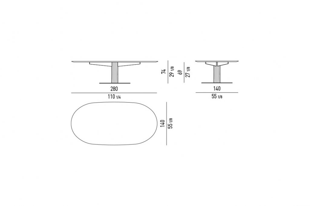 """line drawing and dimensions for minotti bellagio dining table oval 110"""""""