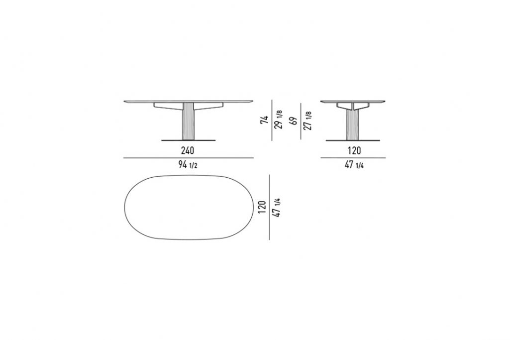"""line drawing and dimensions for minotti bellagio dining table oval 94"""""""