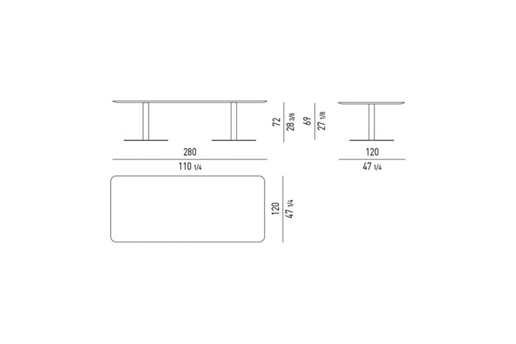 """line drawing and dimensions for minotti bellagio dining table rectangle 110"""""""