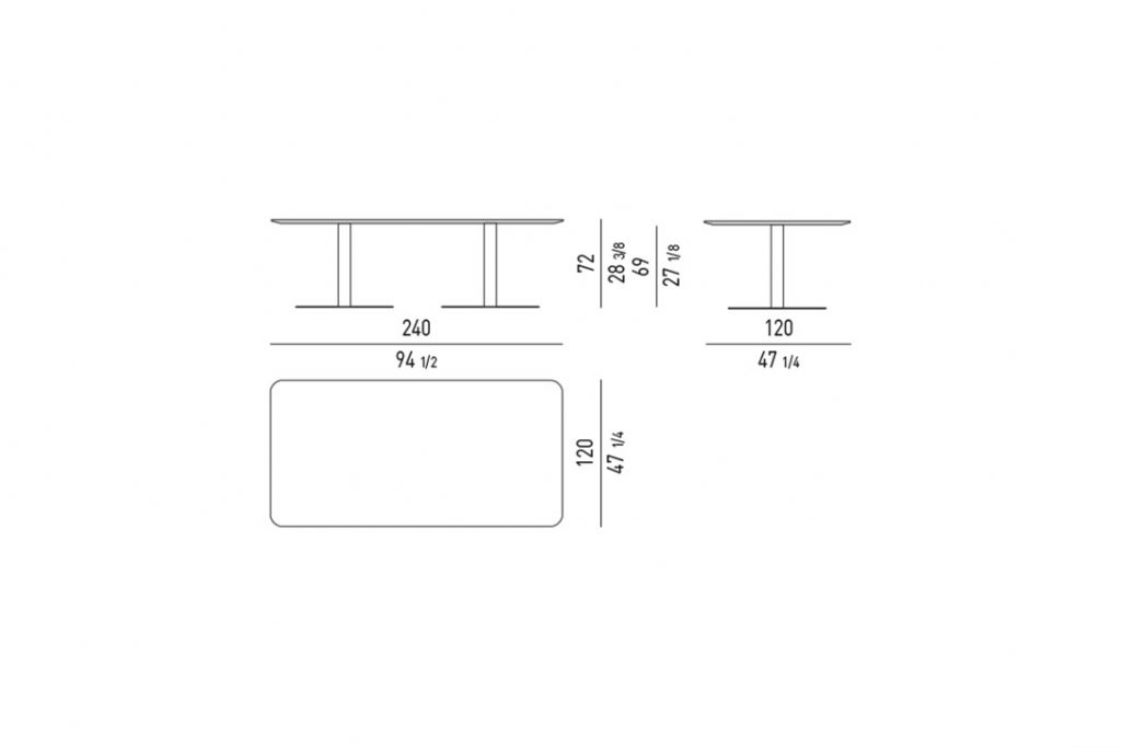 """line drawing and dimensions for minotti bellagio dining table rectangle 94"""""""