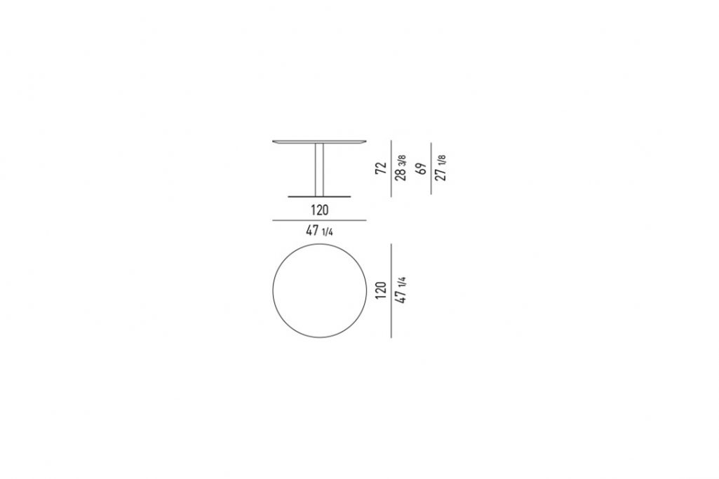 """line drawing and dimensions for minotti bellagio dining table round 47"""""""