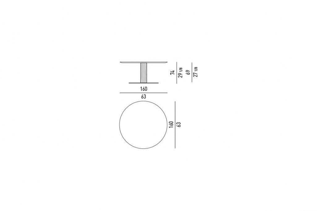 """line drawing and dimensions for minotti bellagio dining table round 63"""""""