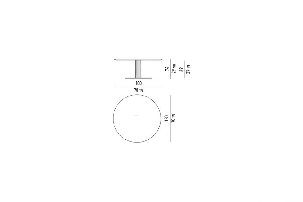 """line drawing and dimensions for minotti bellagio dining table round 70"""""""