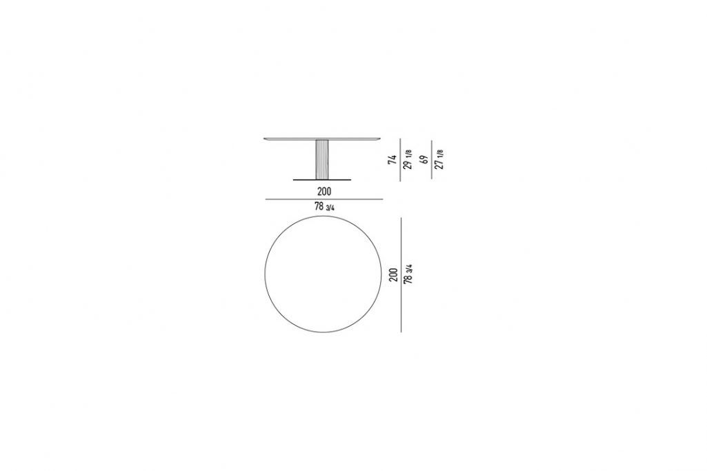 """line drawing and dimensions for minotti bellagio dining table round 78"""""""
