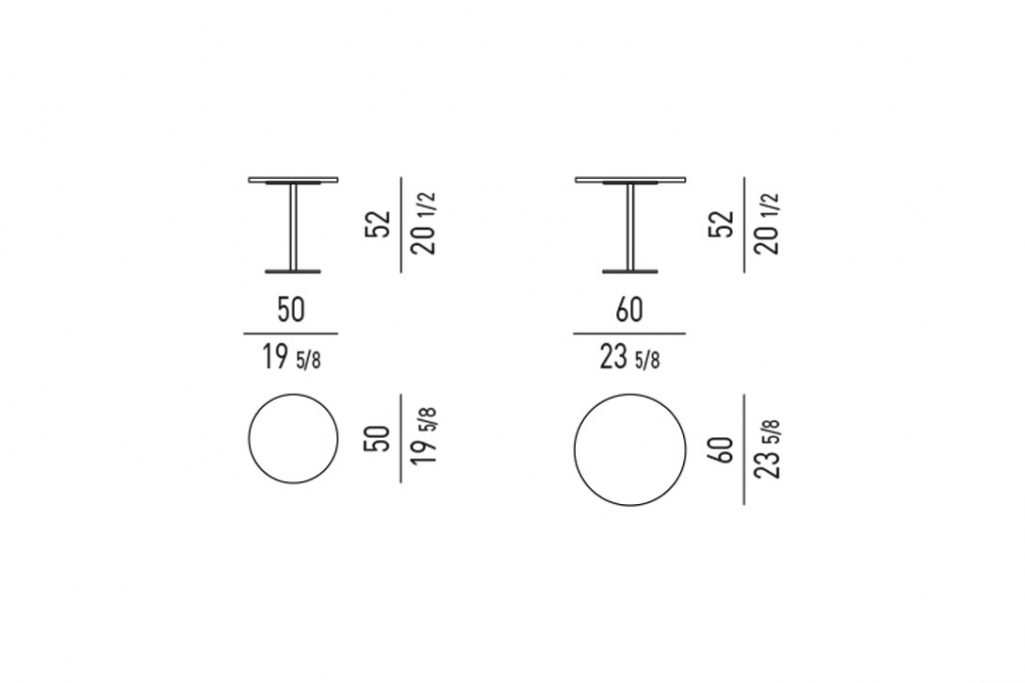 line drawing and dimensions for minotti bellagio side table round
