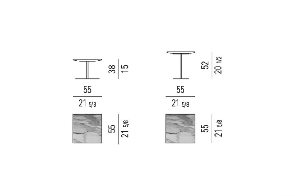 line drawing and dimensions for minotti bellagio side table square