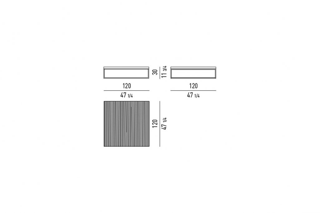 line drawing and dimensions for a minotti calder coffee table square 47