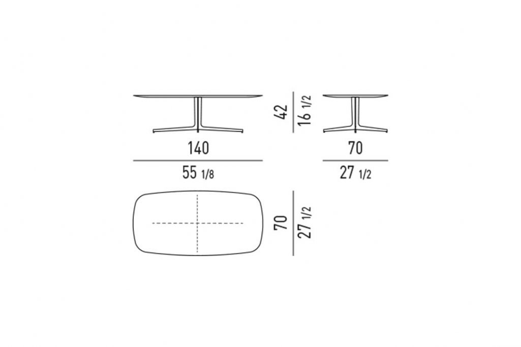 line drawing and dimensions for minotti clyfford coffee table rectangle 55