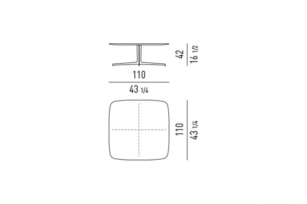 line drawing and dimensions for minotti clyfford coffee table square 43