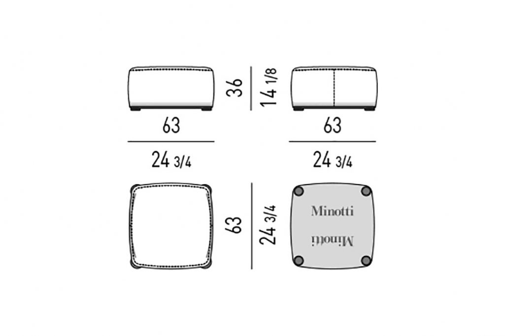 line drawing and dimensions for minotti davis pouf square