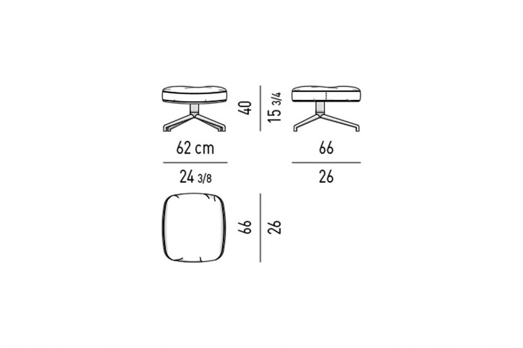 line drawing and dimensions for minotti jensen ottoman