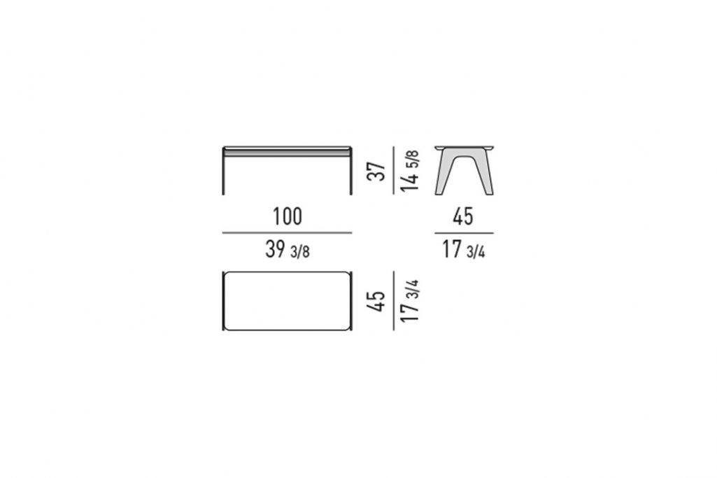 """line drawing and dimensions for a minotti kirk coffee table metal rectangle 39"""""""