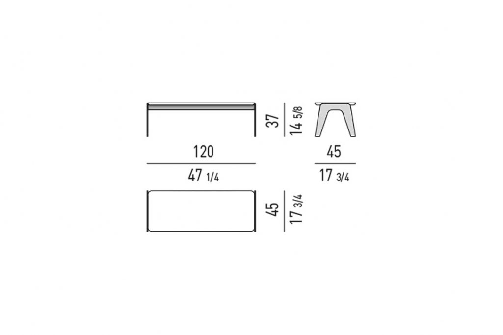 """line drawing and dimensions for a minotti kirk coffee table metal rectangle 47"""""""