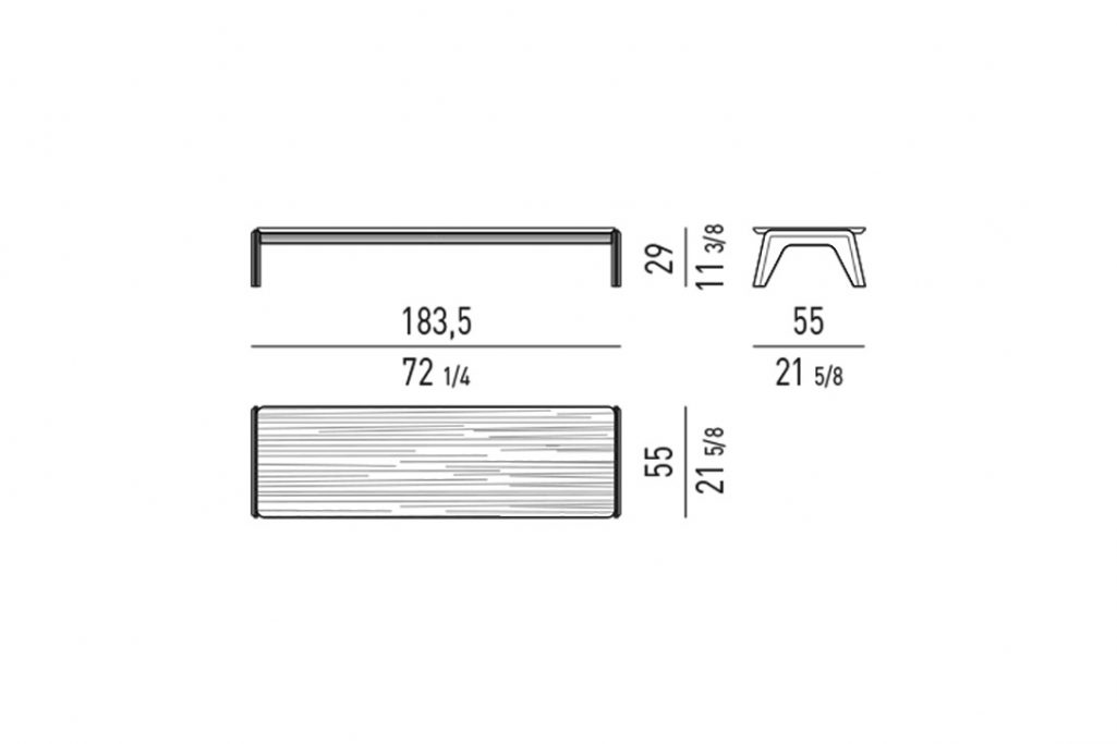 """line drawing and dimensions for minotti kirk coffee table wood rectangle 72"""""""