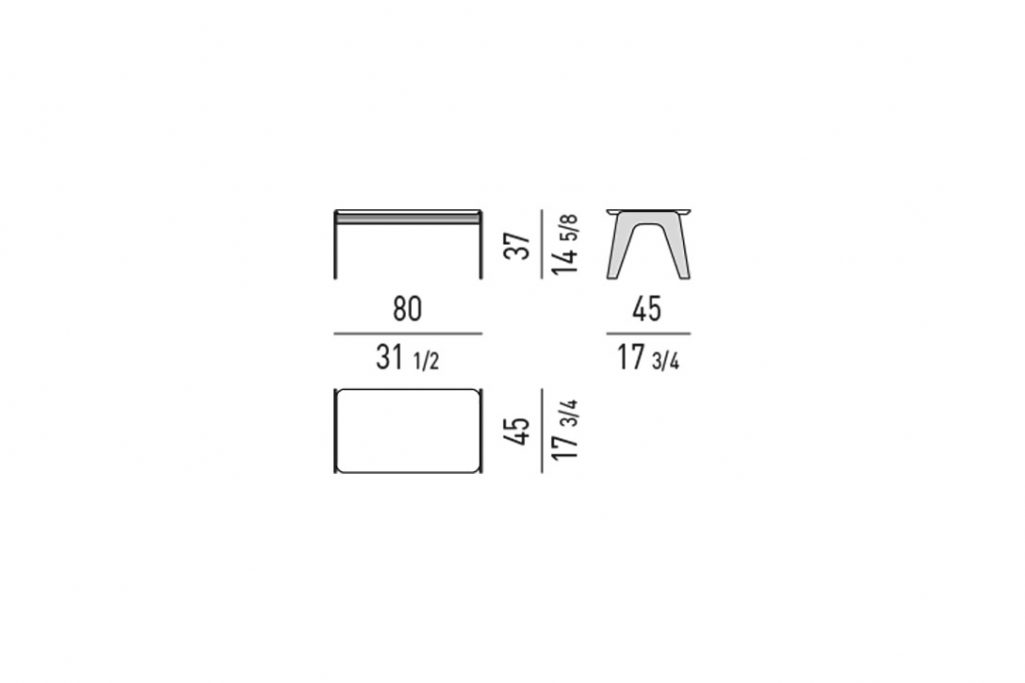 """line drawing and dimensions for minotti kirk side table metal rectangle 31"""""""