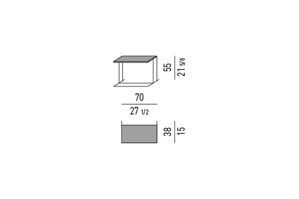 line drawing and dimensions for minotti leger side table rectangle