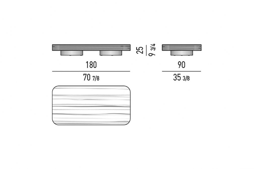 line drawing and dimensions for minotti milton coffee table rectangle