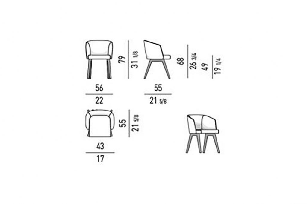 line drawing and dimensions for a minotti reeves dining chairs