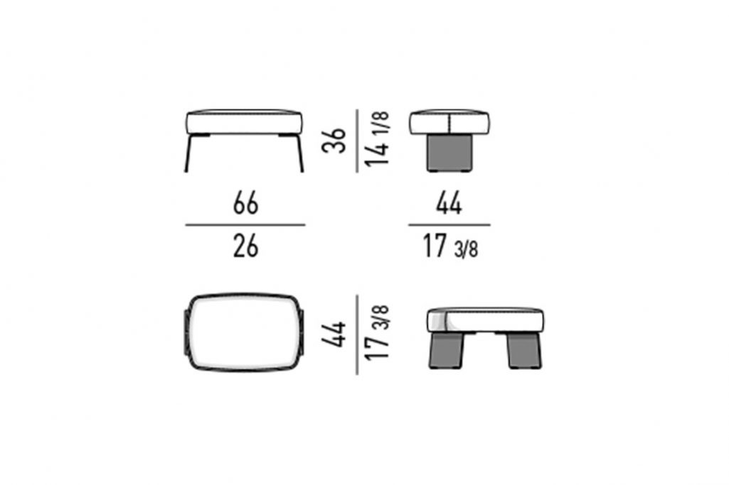 line drawing and dimensions for minotti reeves ottoman