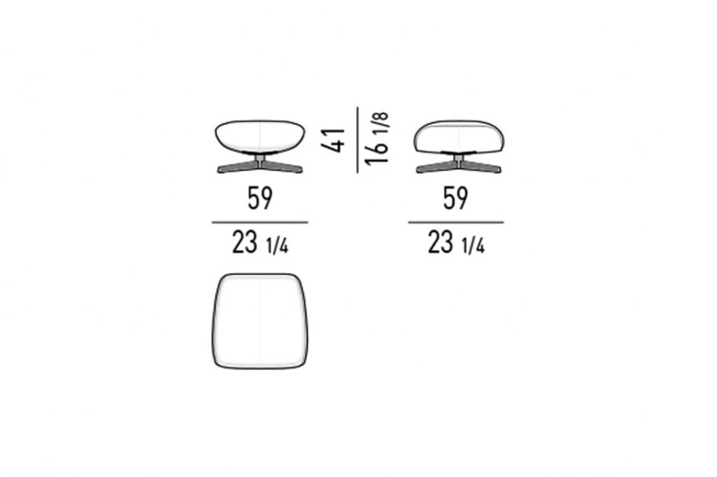 line drawing and dimensions for minotti russell ottoman cross base
