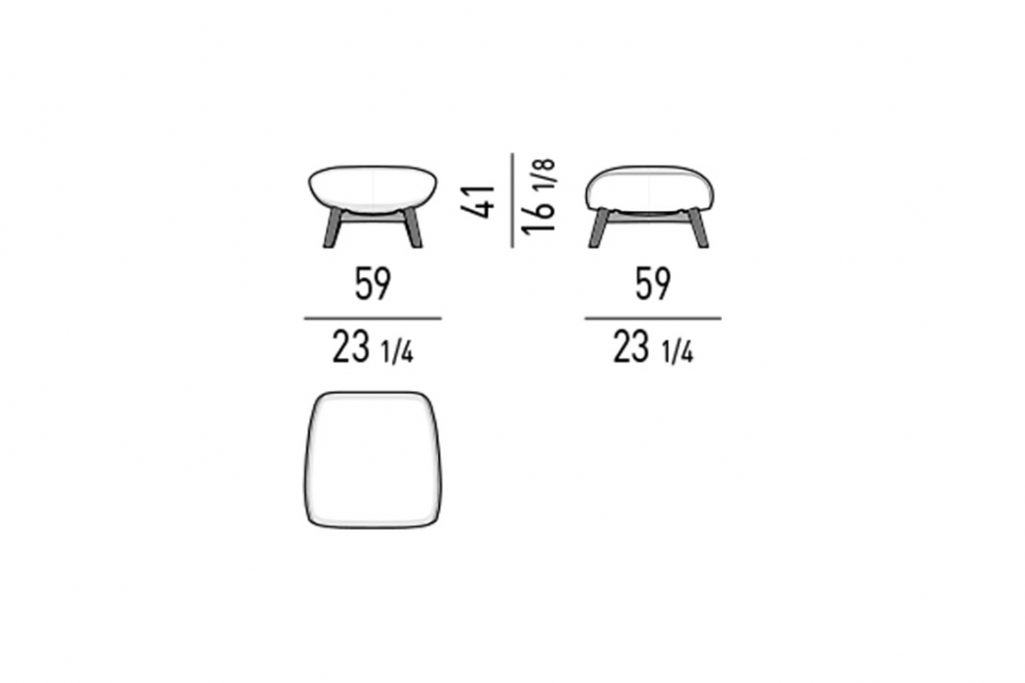 line drawing and dimensions for minotti russell ottoman feet base