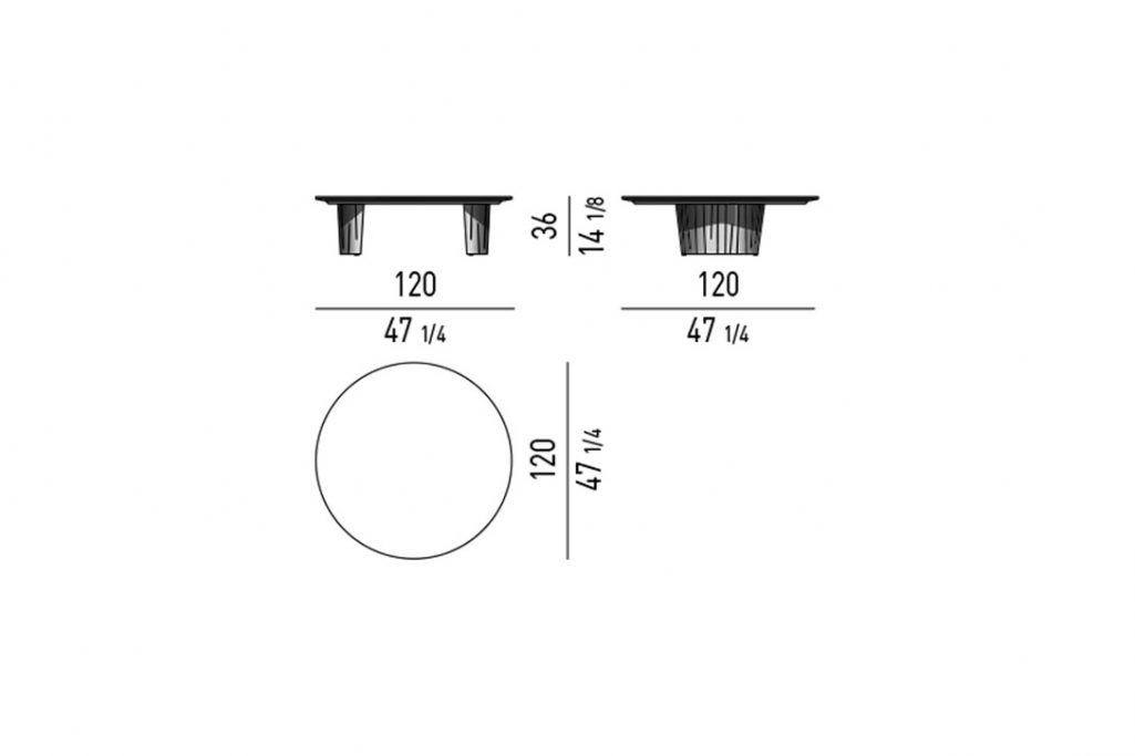 line drawing and dimensions for a minotti song coffee table round 47x14