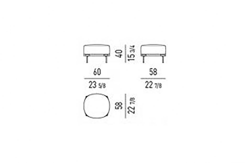 line drawing and dimensions for minotti tape ottoman