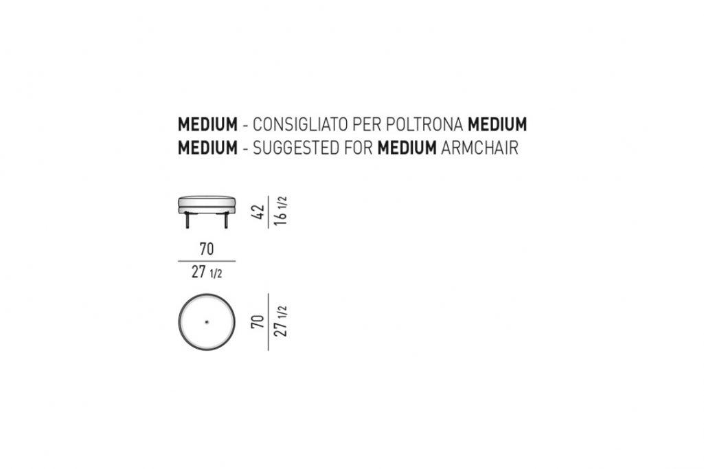 line drawing and dimensions for minotti torii ottoman medium