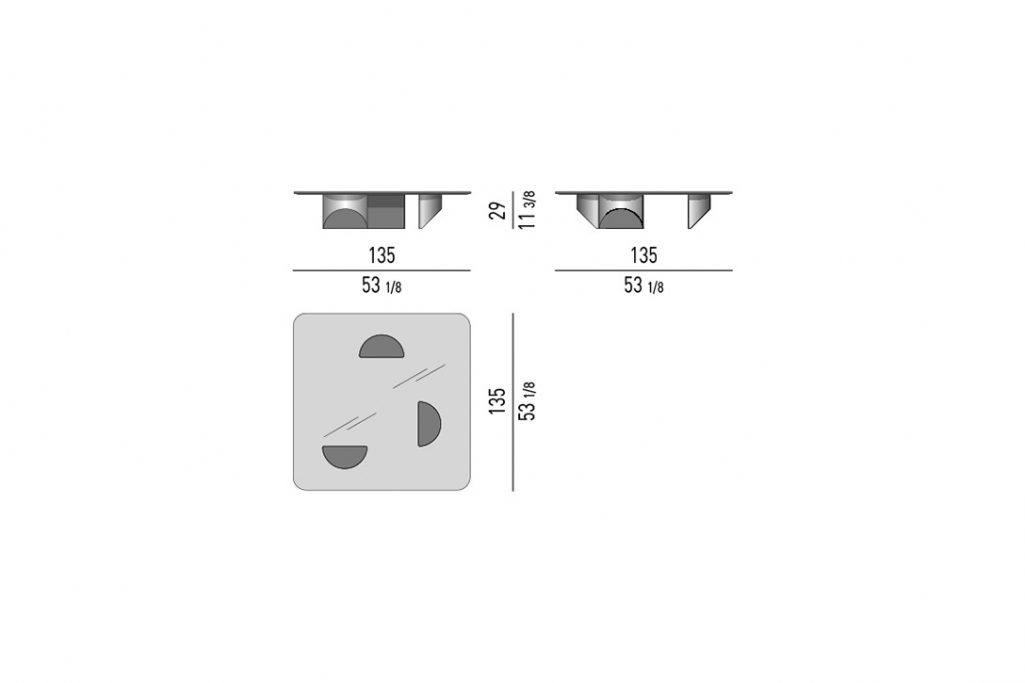 line drawing and dimensions for a minotti wedge coffee table square
