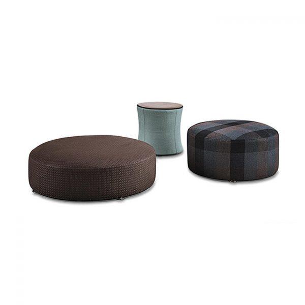minotti davis poufs and davis drum on a white background