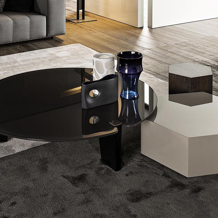 modern living room featuring a minotti jacob coffee table