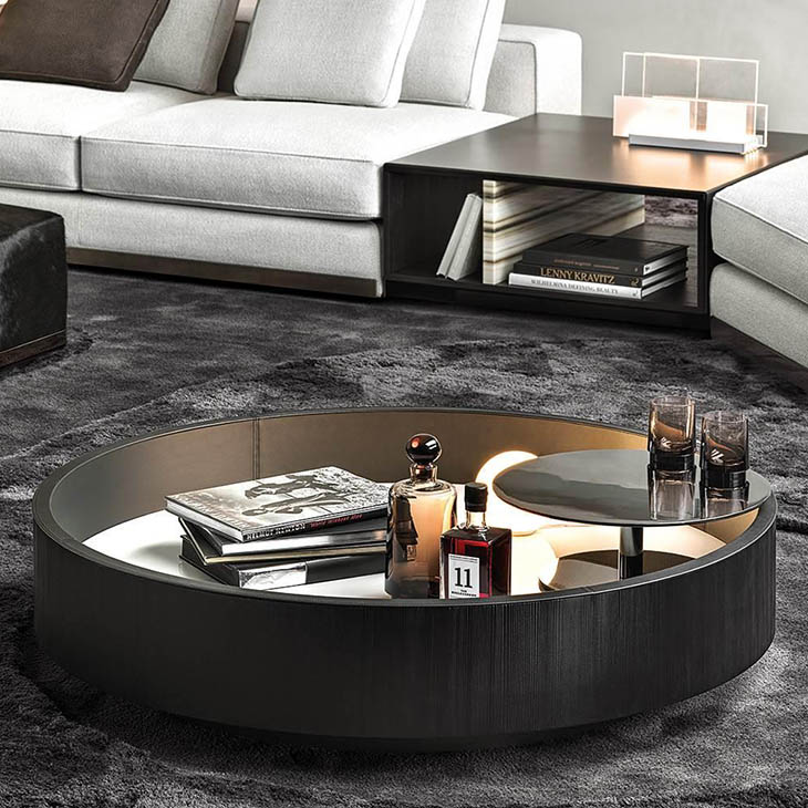 modern living room featuring a minotti jeff coffee table