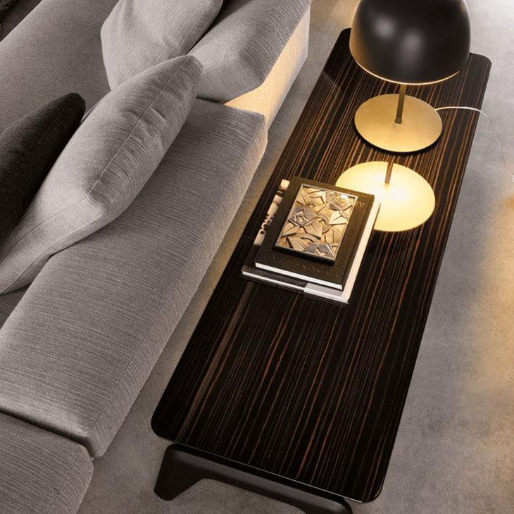 modern living room featuring a minotti kirk console table