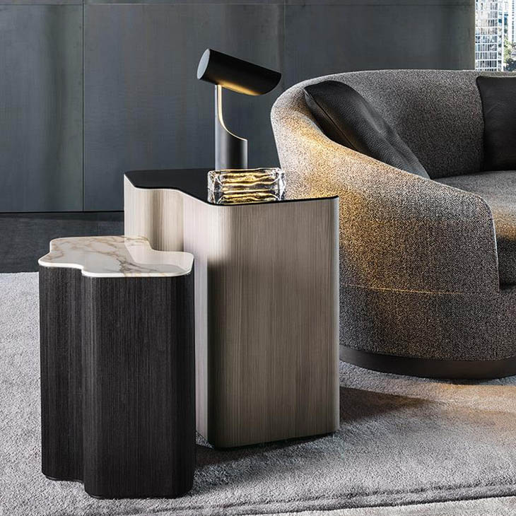 modern living room featuring two minotti lou tables