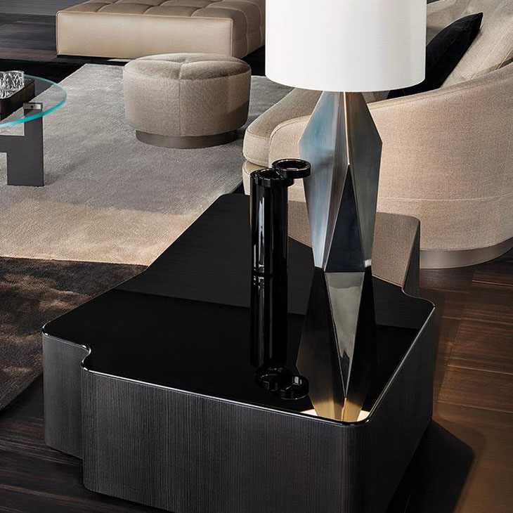 modern living room featuring a minotti lou table