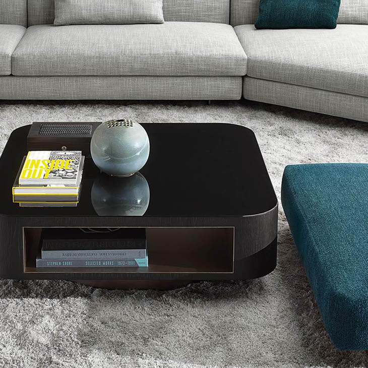 modern living room featuring a minotti milton coffee table
