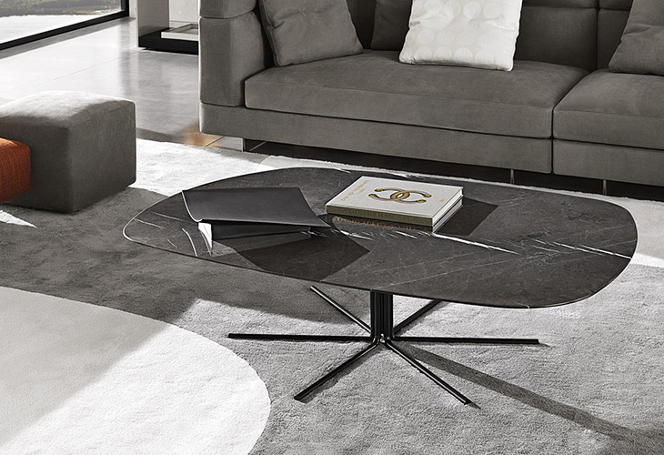 modern living room featuring a minotti rays coffee table